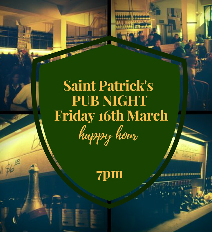 St Patrick's Pub Night 16th March - Happy Hour 7.00 pm